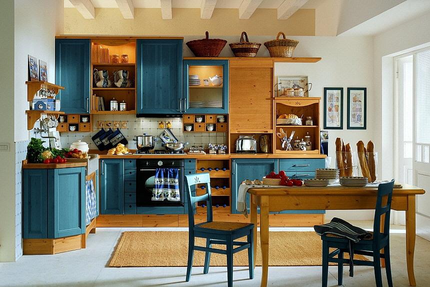 exklusive vollholzkuechen  verschiedenen farben blau