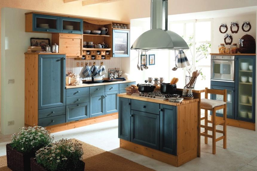Exklusive vollholzkuchen in verschiedenen farben blau for Vollholzküche